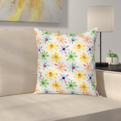 Watercolor Flowers Art Square Pillow Cover Size: 16 x 16