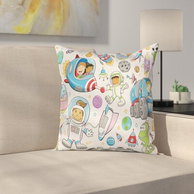 Cartoon Cute Space Kids Rocket Square Pillow Cover Size: 18 x 18
