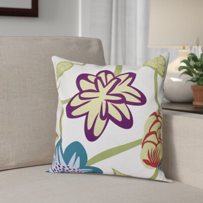 Denizens Tropical Floral Print Throw Pillow Size: 16 H x 16 W, Color: Teal