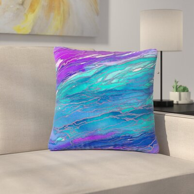 Ebi Emporium Agate Magic Abstract Geological Painting Outdoor Throw Pillow Color: Purple/Blue, Size: 18 H x 18 W x 5 D