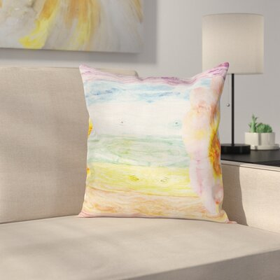 Wooden Summer Time Floral Roses Square Pillow Cover Size: 16 x 16