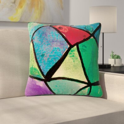 Stain Glass by Theresa Giolzetti Outdoor Throw Pillow Color: Green/Red