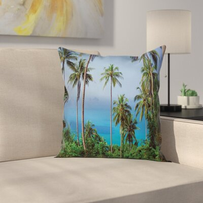 Tropical Ocean Jungle Beauty Square Pillow Cover Size: 18 x 18