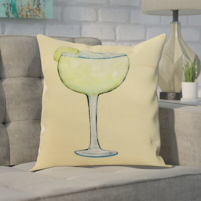 Crosswhite Margarita Plain Print Indoor/Outdoor Throw Pillow Color: Yellow, Size: 20 x 20