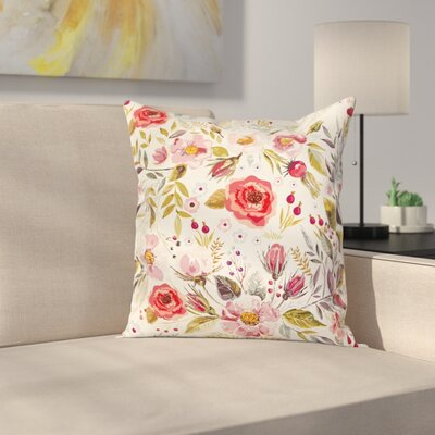 Modern Floral 16 Square Pillow Cover with Zipper Size: 24 x 24