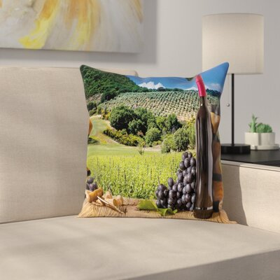 Wine Idyllic Tuscany Country Square Pillow Cover Size: 24 x 24