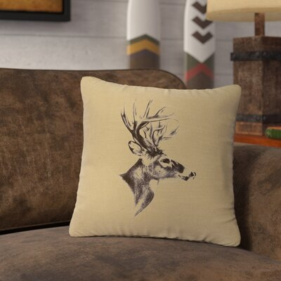Lansford Deer Profile Throw Pillow Color: Straw