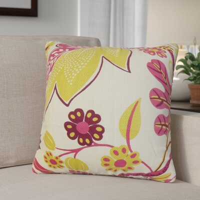 Ashville Floral Cotton Throw Pillow Color: Kiwi Pink, Size: 18 x 18