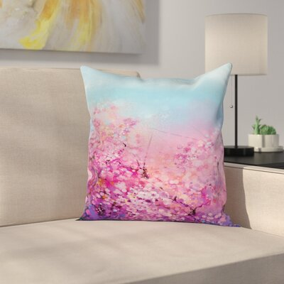 Japanese Decor Blooming Sakura Square Pillow Cover Size: 18 x 18
