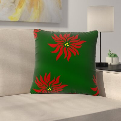 NL Designs Poinsettias Outdoor Throw Pillow Color: Green/Red, Size: 16 H x 16 W x 5 D