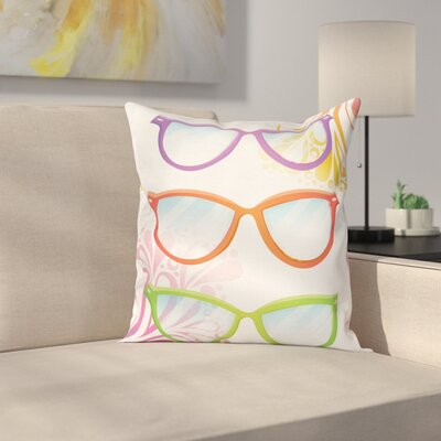 Summer Glasses Floral Square Cushion Pillow Cover Size: 18 x 18