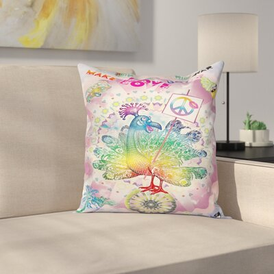 Thanksgiving Tropical Turkey Square Pillow Cover Size: 16 x 16
