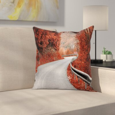 Fall Decor Dreamy Road Square Pillow Cover Size: 16 x 16