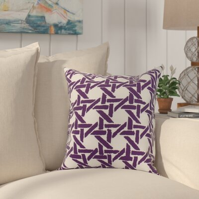 Cawley Rattan Geometric Print Indoor/Outdoor Throw Pillow Color: Purple, Size: 16 x 16