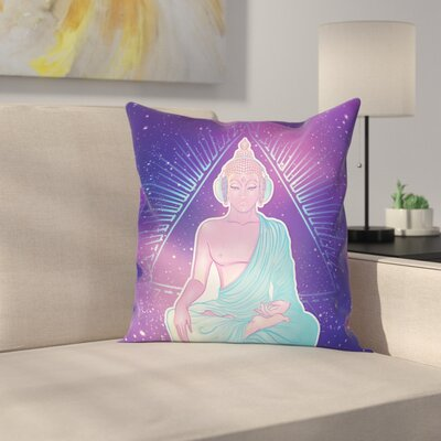Indian God Lotus Music Square Cushion Pillow Cover Size: 16 x 16