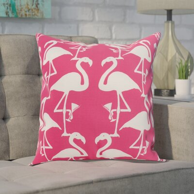 Crosswhite Flamingo Heart Martini Animal Print Indoor/Outdoor Throw Pillow Color: Pink/White, Size: 16 x 16