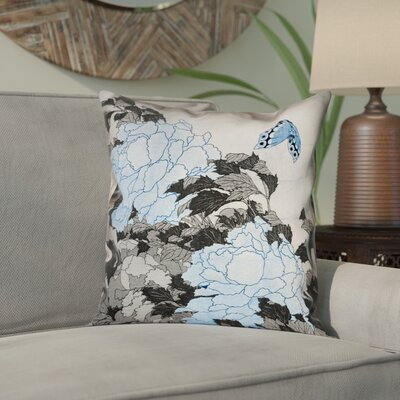 Clair Peonies and Butterfly Pillow Cover Size: 14 H x 14 W, Color: Gray/Blue
