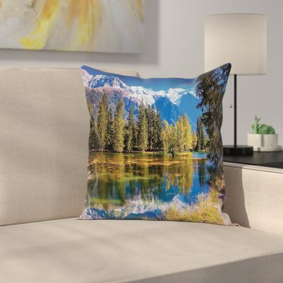 Nature Snowy Alps Lake Pine Square Pillow Cover Size: 24 x 24