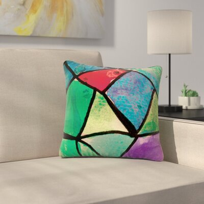 Stain Glass by Theresa Giolzetti Outdoor Throw Pillow Color: Red/Green