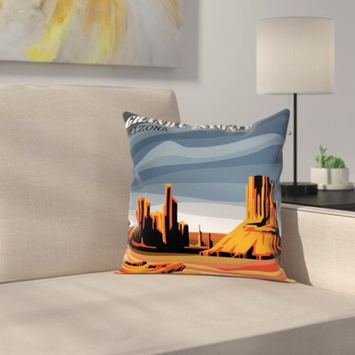 American Case Cartoon Grand Canyon Square Pillow Cover Size: 18 x 18