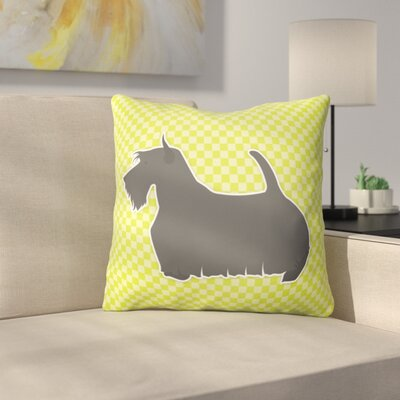 Scottish Terrier Square Indoor/Outdoor Throw Pillow Size: 18 H x 18 W x 3 D, Color: Green