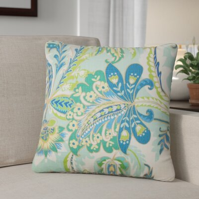 Fili Floral Cotton Throw Pillow Color: Lagoon