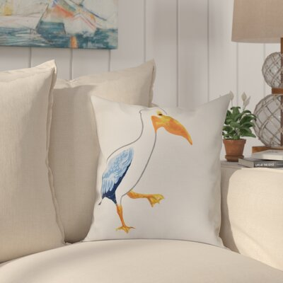 Cavendish Pelican March Animal Print Throw Pillow Size: 16 H x 16 W, Color: White