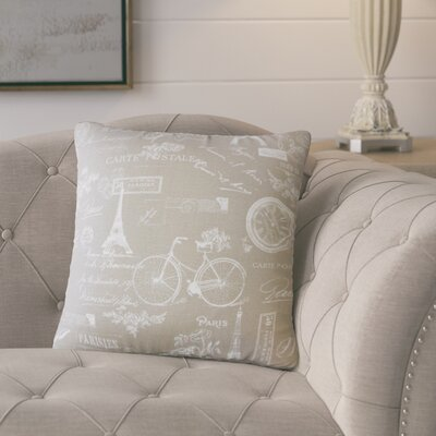Banat Typography Cotton Throw Pillow Color: Gray