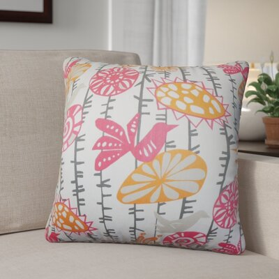 Patterson Floral Cotton Throw Pillow Color: Sherbet, Size: 24 x 24