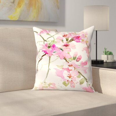 Pink Flower Throw Pillow Size: 18 x 18