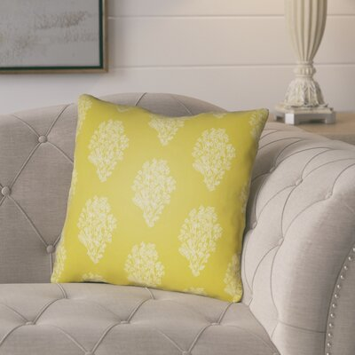 Glengormley Throw Pillow Size: 18 H x 18 W x 4 D, Color: Yellow/White