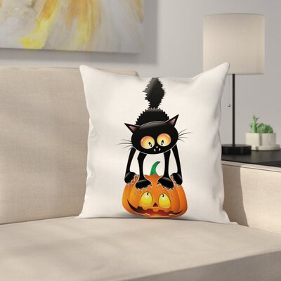 Cat Cartoon Animal on Pumpkin Square Pillow Cover Size: 16 x 16