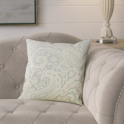 Francisca Linen Throw Pillow Color: Aqua, Size: 18x18
