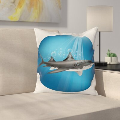 Shark Underwater Hunter Square Pillow Cover Size: 18 x 18