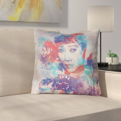 Watercolor Portrait Square Indoor Throw Pillow Size: 18 x 18