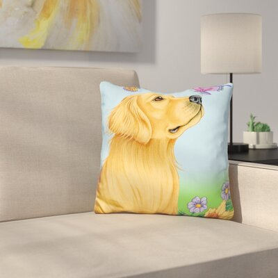 Butterfly and Dog Throw Pillow