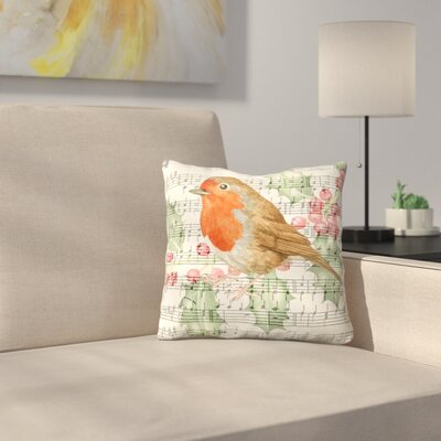 Robin Music Card 3 Throw Pillow Size: 14 x 14