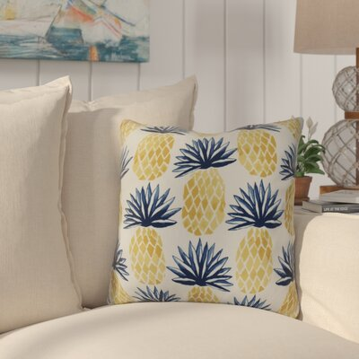 Costigan Pineapple Stripes Outdoor Throw Pillow Size: 16 H x 16 W x 3 D, Color: Blue