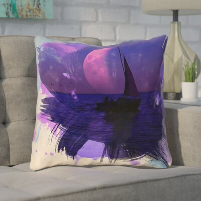 Houck Watercolor Moon and Sailboat Throw Pillow Size: 16 H x 16 W