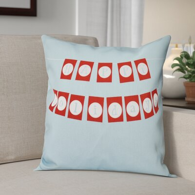 Happy Holidays Banner Print Throw Pillow Size: 18 H x 18 W, Color: Light Blue