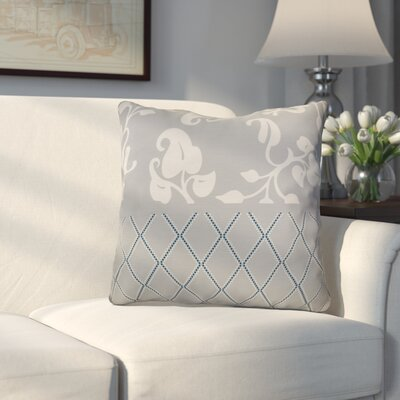 Decorative Holiday Floral Print Outdoor Throw Pillow Size: 16 H x 16 W, Color: Gray
