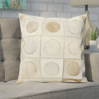 Naral Leather Hide Throw Pillow Color: Beige