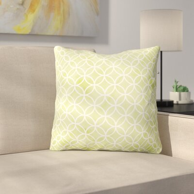 Hummer Circles on Watercolor Outdoor Throw Pillow Color: Green