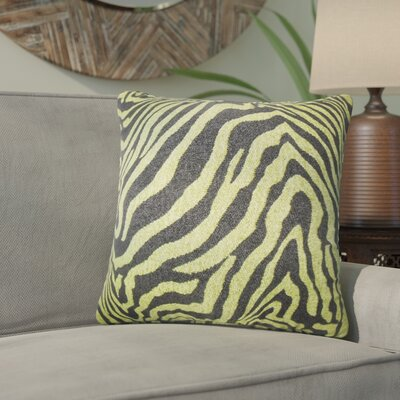 Kathy Zebra Print Throw Pillow Color: Green