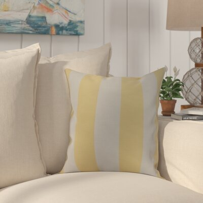 Harriet Rugby Stripe Throw Pillow Color: Yellow, Size: 16 x 16