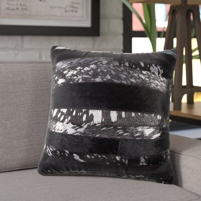 Sarthak Cowhide Throw Pillow Color: Black/Silver