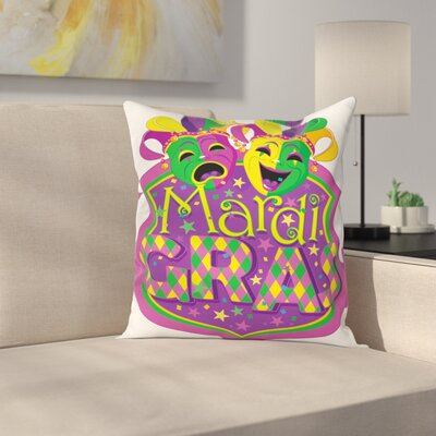 Mardi Gras Carnival Blazon Art Square Cushion Pillow Cover Size: 24