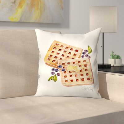 Blueberry Breakfast Waffles Throw Pillow Size: 16 x 16