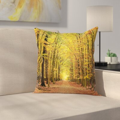 Fall Decor Pathway into Forest Square Pillow Cover Size: 16 x 16