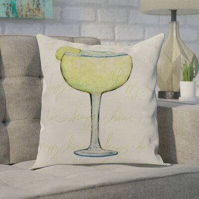 Crosswhite Margarita Text Fade Happy Hour Print Indoor/Outdoor Throw Pillow Color: Pale Blue, Size: 18 x 18